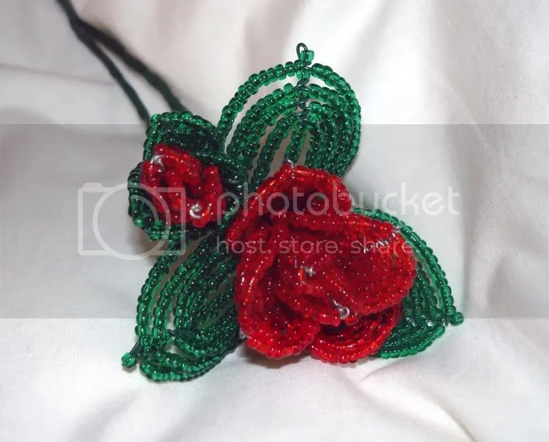 French Beaded Flowers Rose rosebud seed Beads go to Heaven memorial funeral
