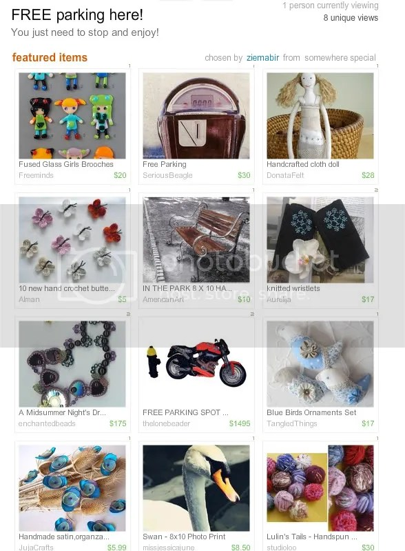 The Lone Beader bead embroidery artist beaded free parking spot motorcycle Etsy treasury