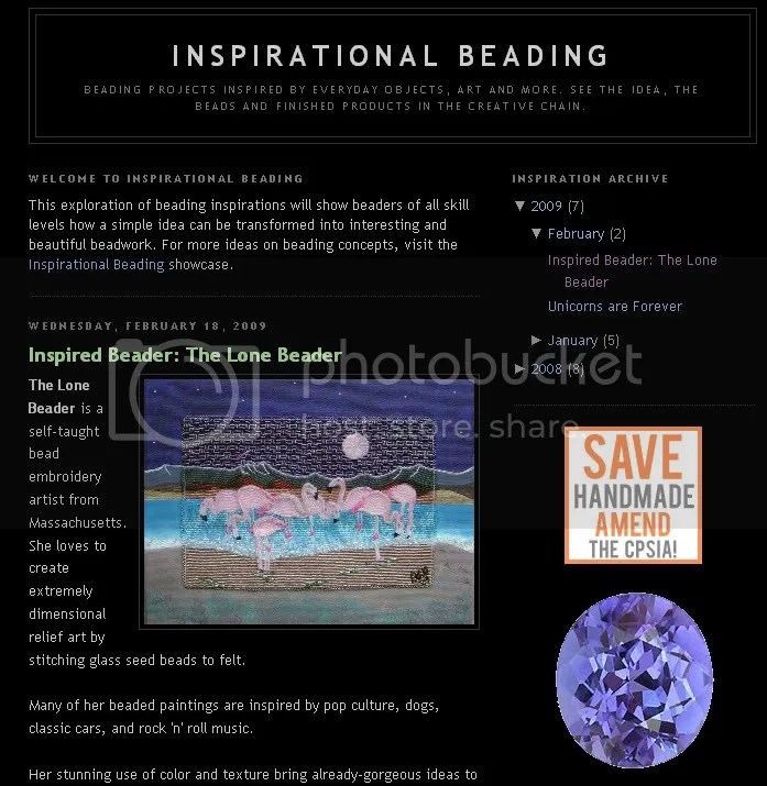 inspirational beading blog The Lone Beader bead embroidery interview feature
