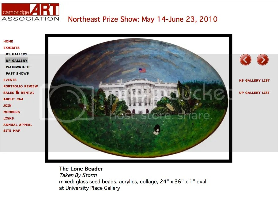 beaded White House painting Cambridge Art Association northeast Prize Show 2010 bead embroidery contemporary art boston exhibition harvard square