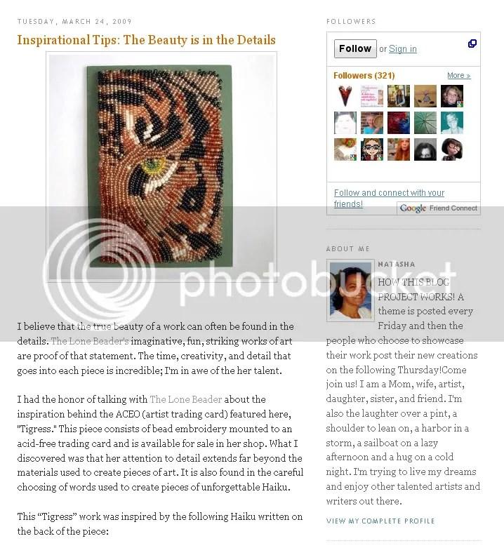 beaded Boston fiber artist bead embroidery art beading blog feature tiger ACEO