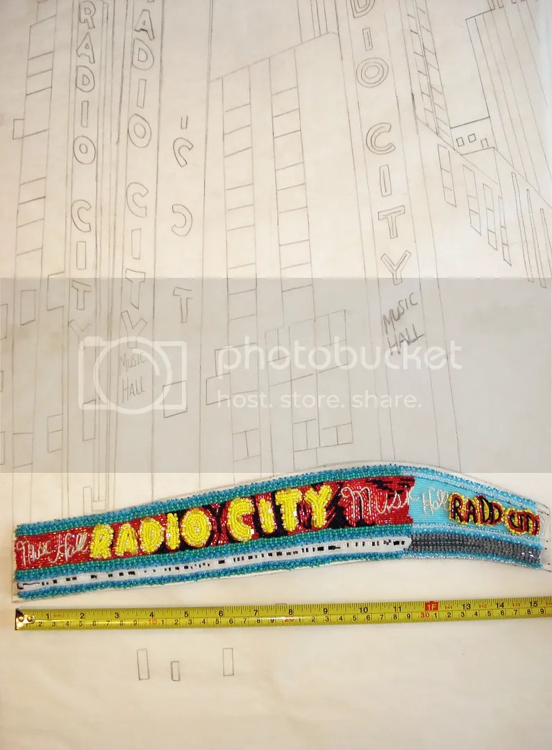 beaded Radio City Music Hall painting bead embroidery artist NYC street scene taxi