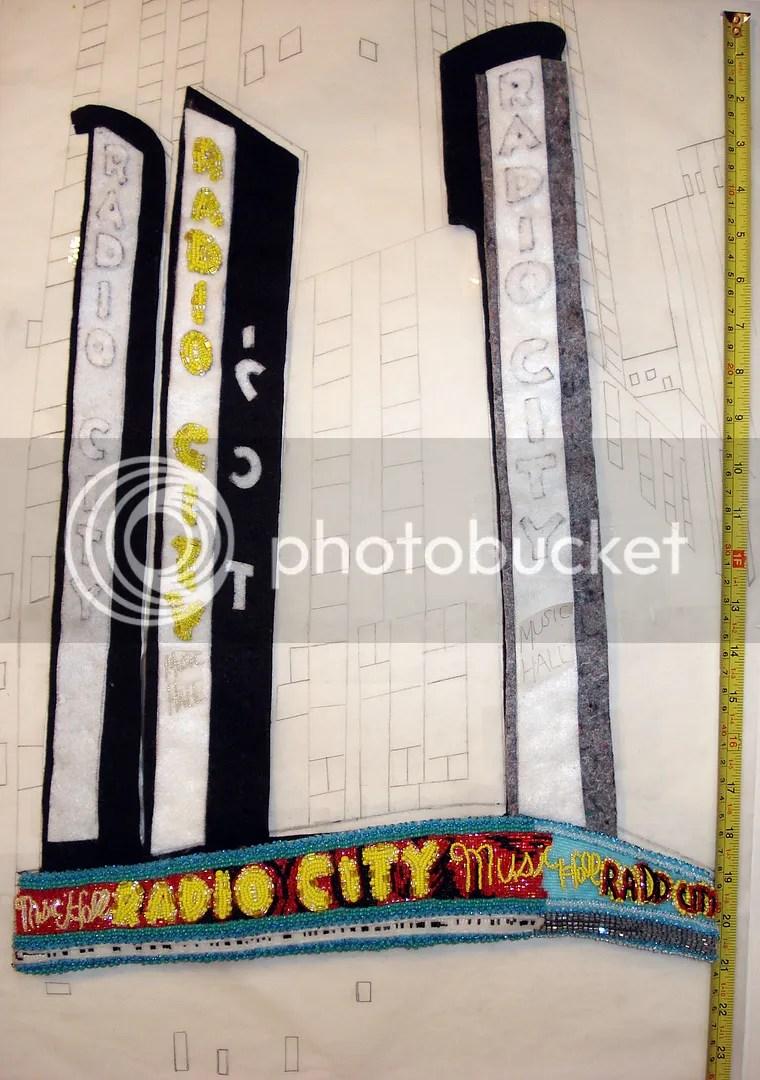beaded radio city music hall painting beadwork mixed media art NYC taxi cab street scene theatre marquee