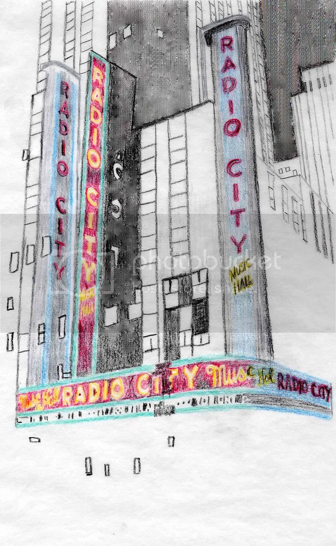 beadwork beaded sketch Radio City Music Hall NYC thelonebeader mixed media painting