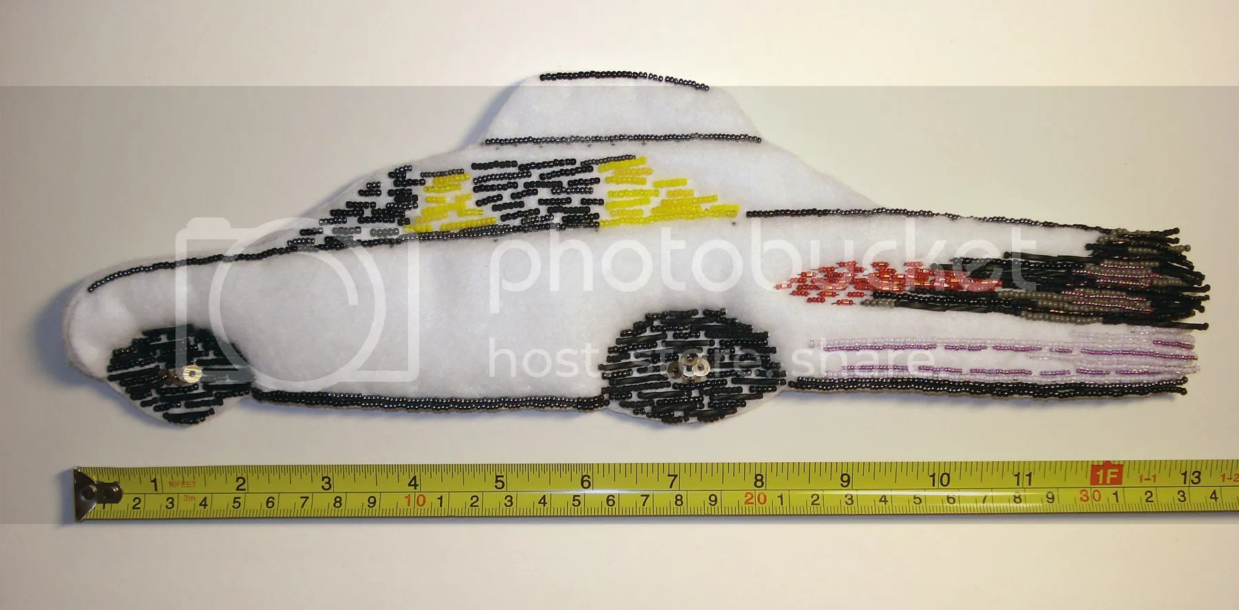 beaded NYC yellow taxi cab bead embroidery art car painting