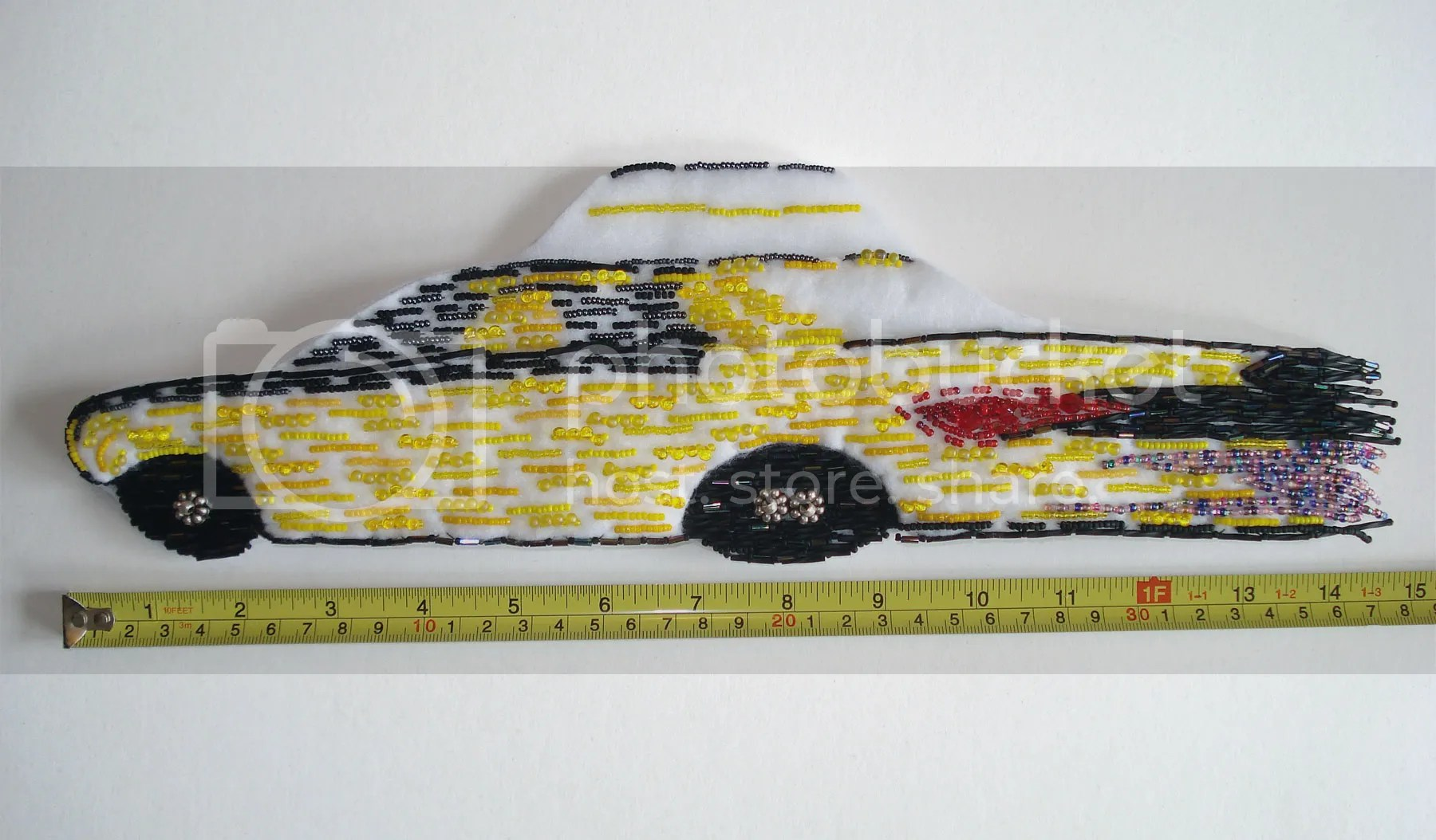Beaded NYC taxi cab bead embroidery Magatama see beads