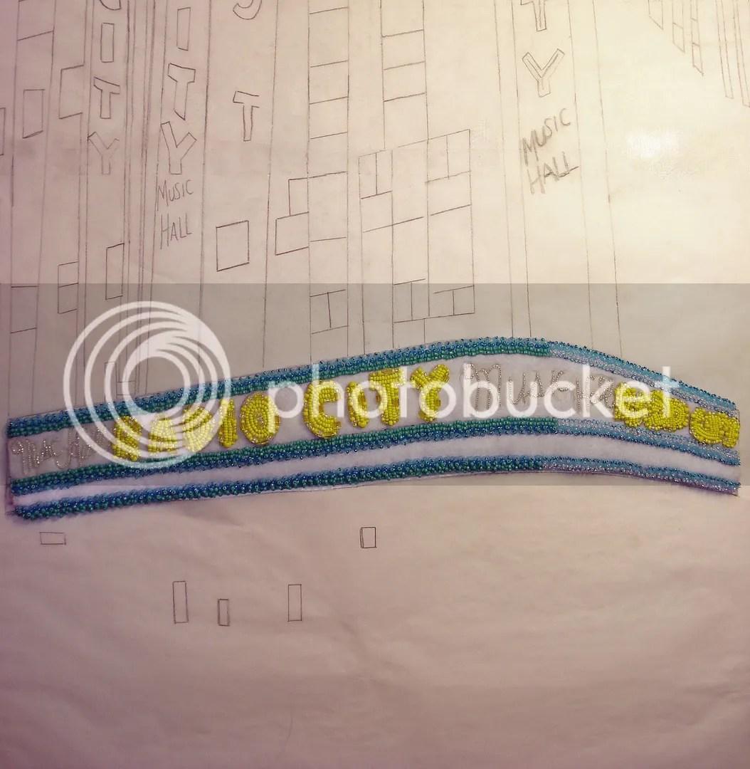 NYC Radio City Music Hall beaded painting city scene pop art beadwork thelonebeader Thanksgiving Day Parade