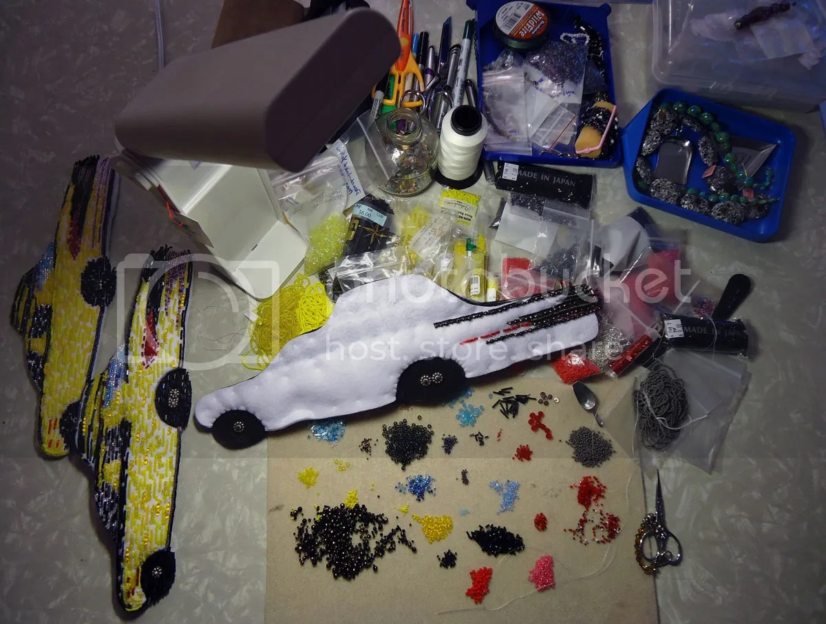 beading work table bead embroidery NYC yellow taxi cab beadwork
