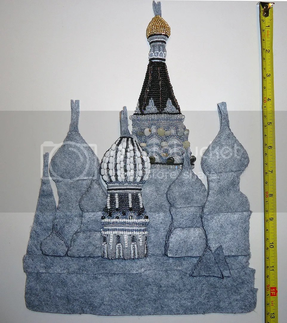 bead embroidery Red Square beadwork painting progress etsy art  Moscow Russia
