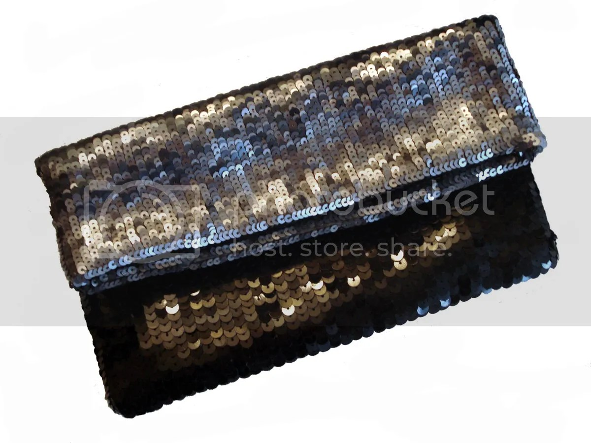 beaded handbag Club Monaco sequins Made in India sequined bead embroidery New Year's Eve
