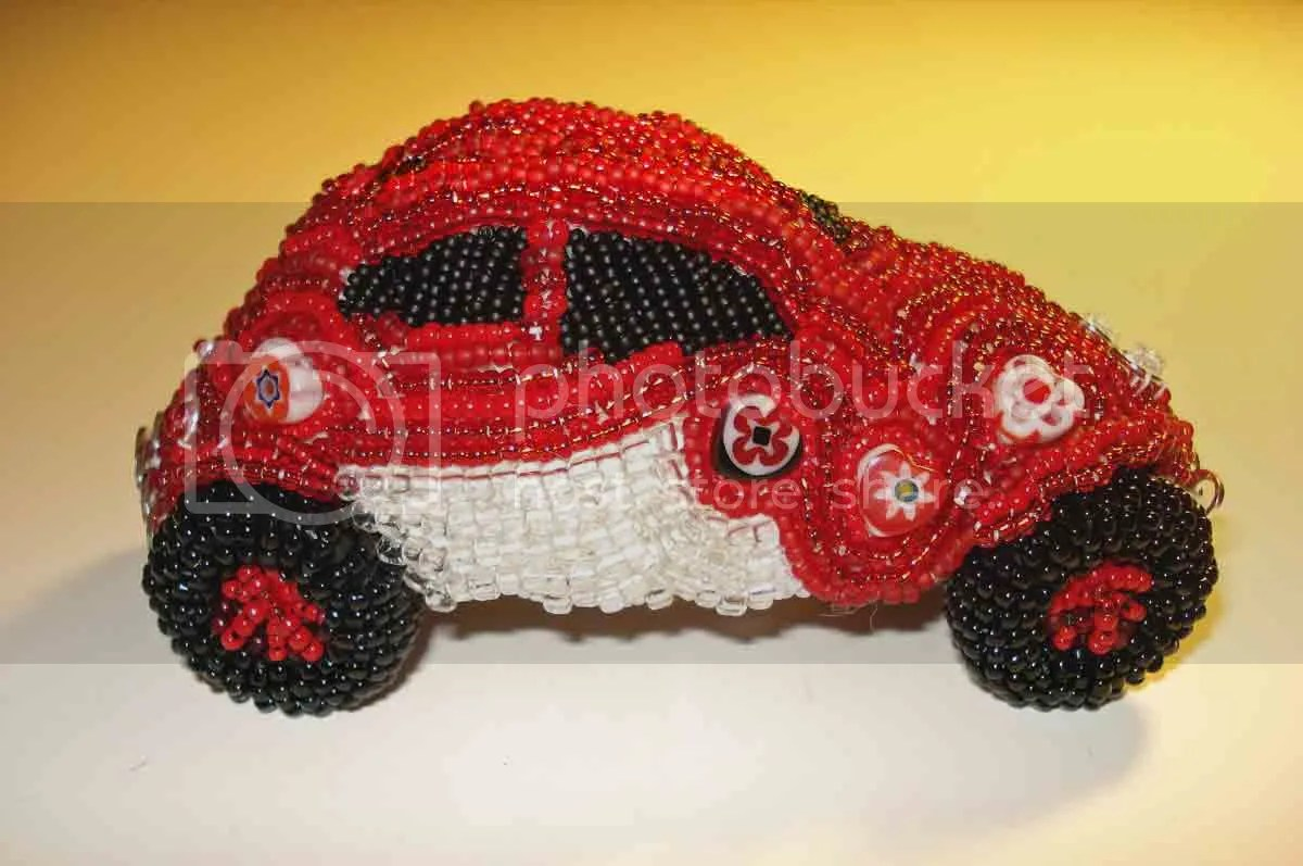 beaded love Luv VW Bug Beetle red charity ebay auction Doctors Without Borders Haiti bead embroidery beaded beadwork car Valentine's Day