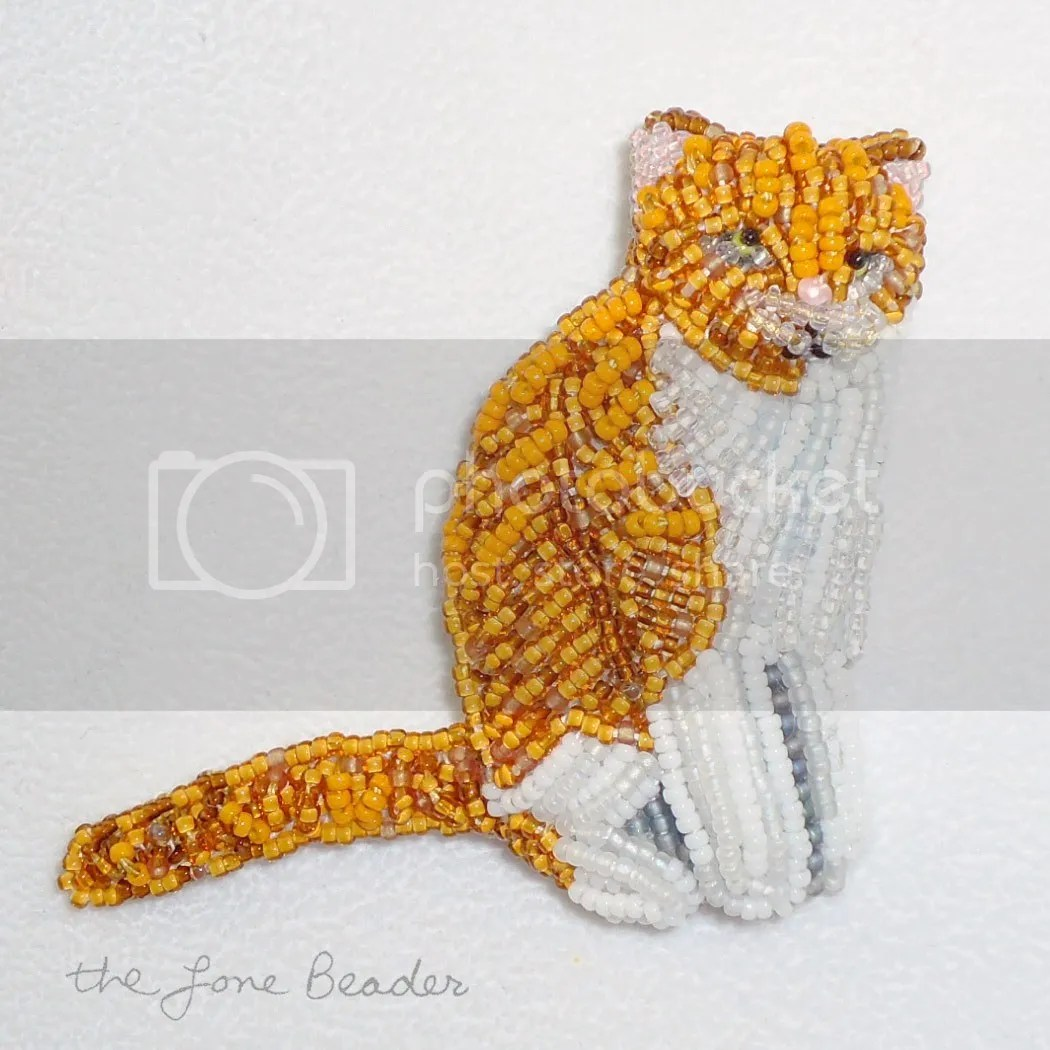 beaded ginger orange white cat pin etsy bead embroidery beadwork pin brooch
