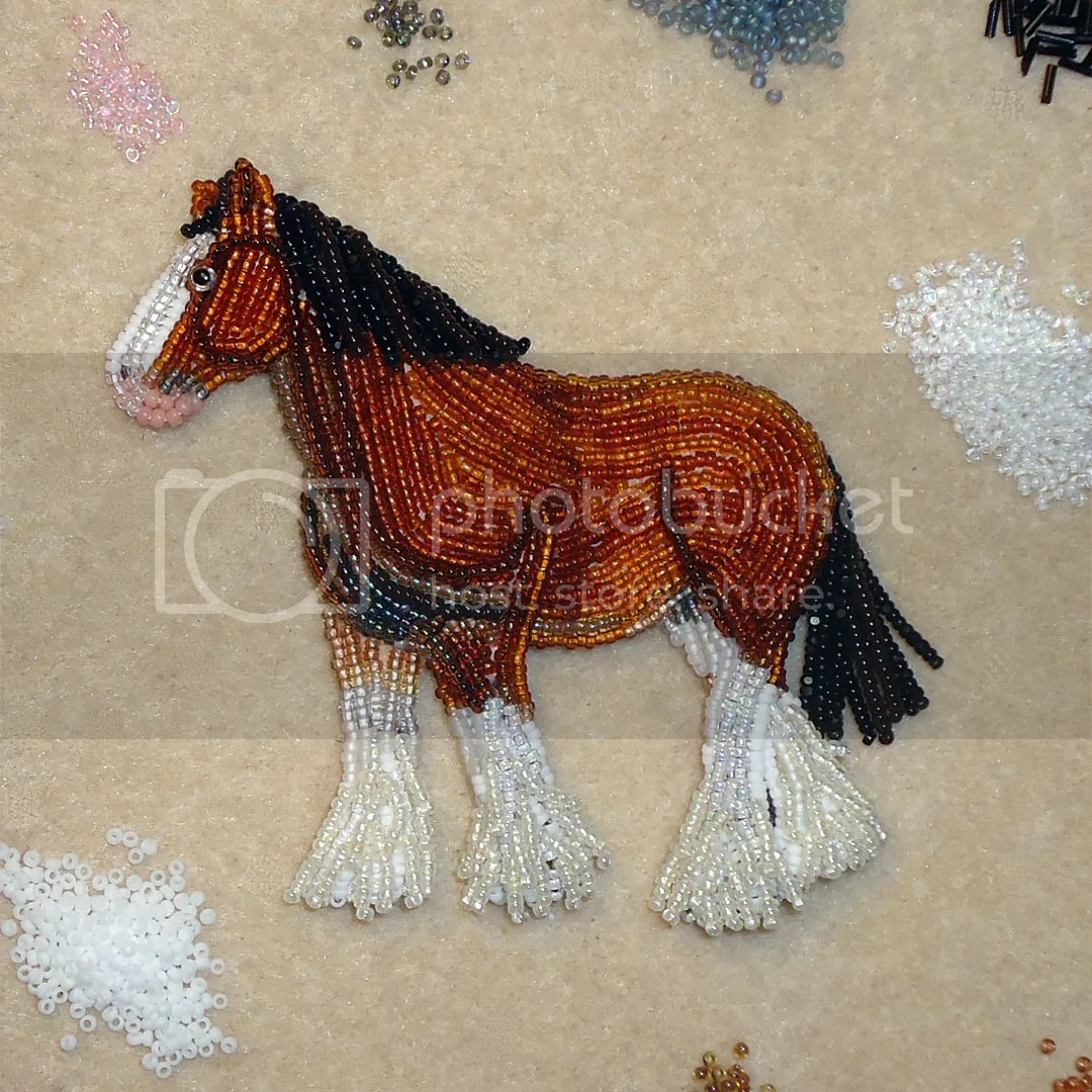 Beaded Clydesdale Draft Draught Horse Bead embroidery pin brooch jewelry seed beads Etsy Amazon artist beading animals