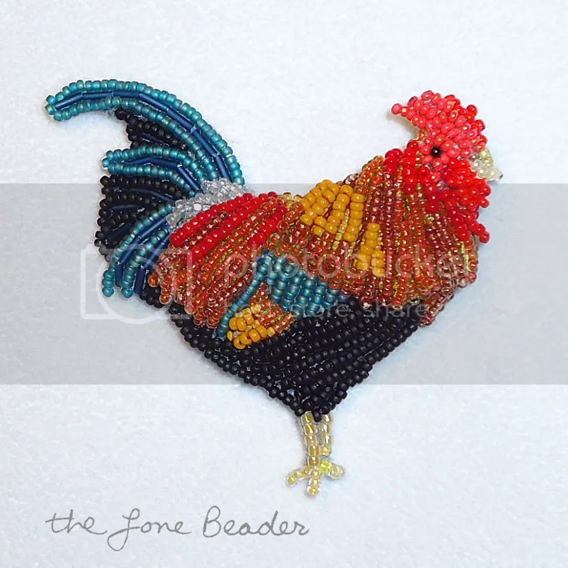 Beaded rooster chicken Kauai Hawaii state bird beadwork bead embroidery jewelry