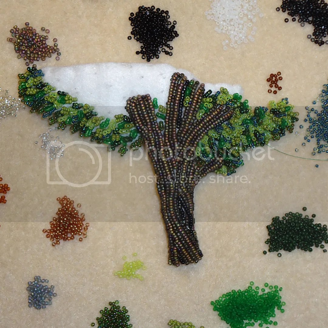 Bead embroidery Bead embroidered tree size 15 seed beads Boston Etsy artist painting