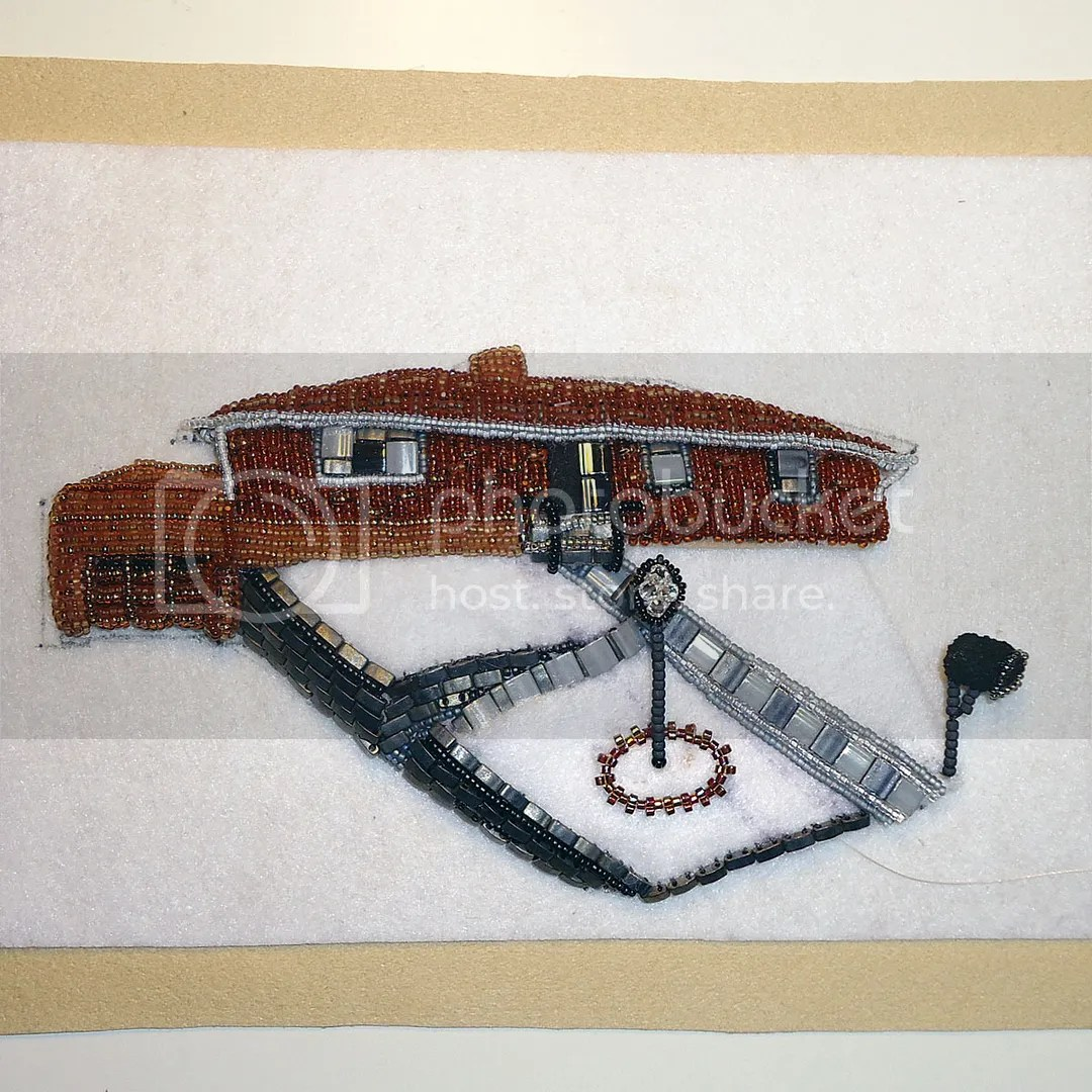 Bead embroidery house portrait Steubenville OH Etsy beadwork beads artist Boston Amazon