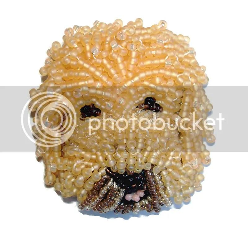 Beaded Australian Labradoodle dog beadwork fine art pin pet portrait commission beading blog