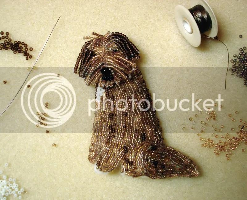 Etsy beaded Einstein Sheepdog fine wearable art pin seed bead embroidery Boston