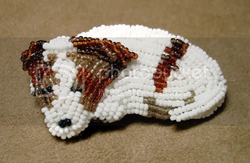beaded Irish Jack Russell Terrier bead embroidery pet portrait fine art pin Etsy