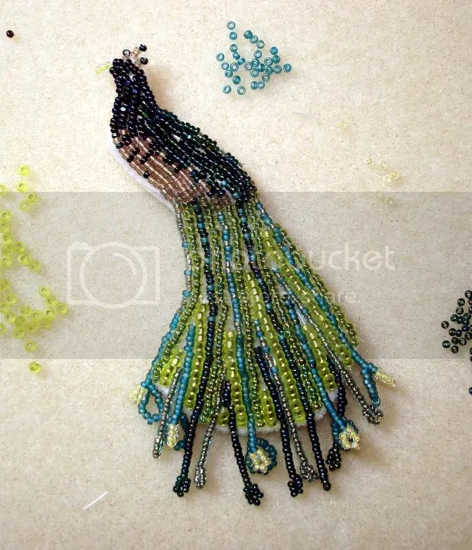 beaded Peacock peafowl exotic bird bead embroidery wearable fine art thelonebeader