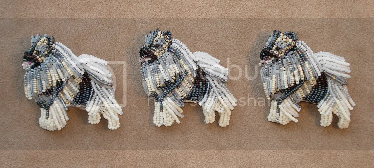 Crazy dog etsy bead embroidery beadwork seed beads brooch akc spitz puppy