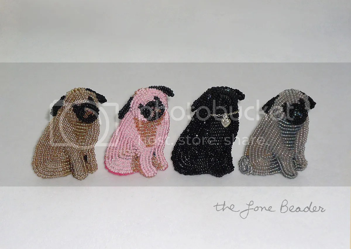 beaded pink gray pug pin bead embroidery animal brooch etsy memorial day sale
