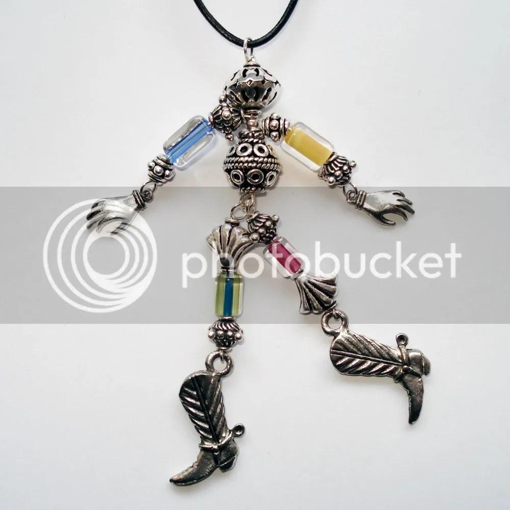 Bali Silver Beads Man Pendant desert robot cowboy boots hands