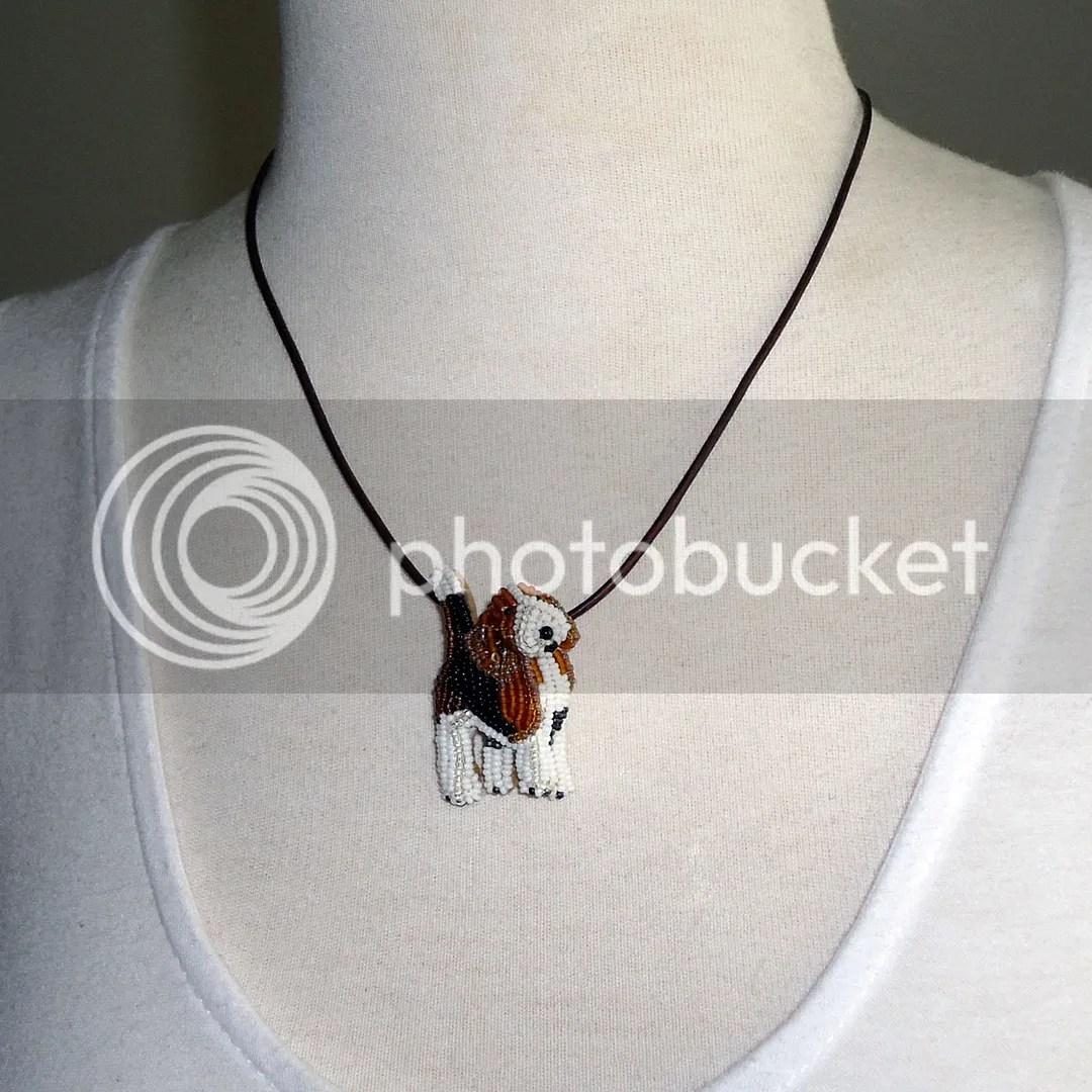 Beaded Pocket Beagle Pendant Bead embroidery etsy dog jewelry AKC
