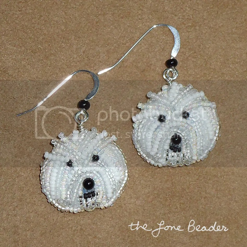 beadwork bead embroidery dog bichon frise dangly sterling silver earrings etsy
