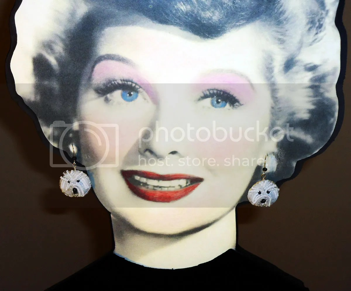 Lucille Ball Bichon frise pet dog earrings mannequin display etsy