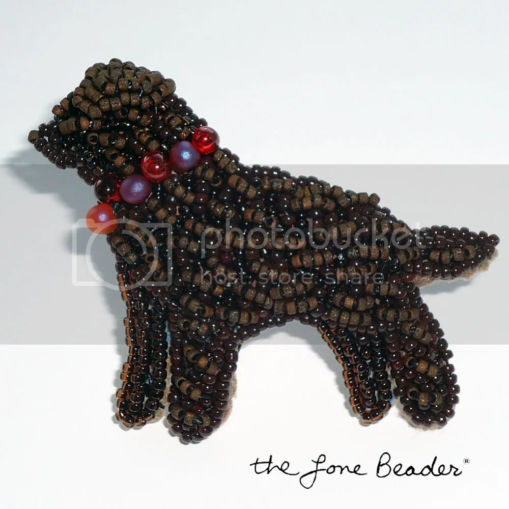 beaded chocolate lab labrador retriever pin pendant beadwork bead embroidery etsy