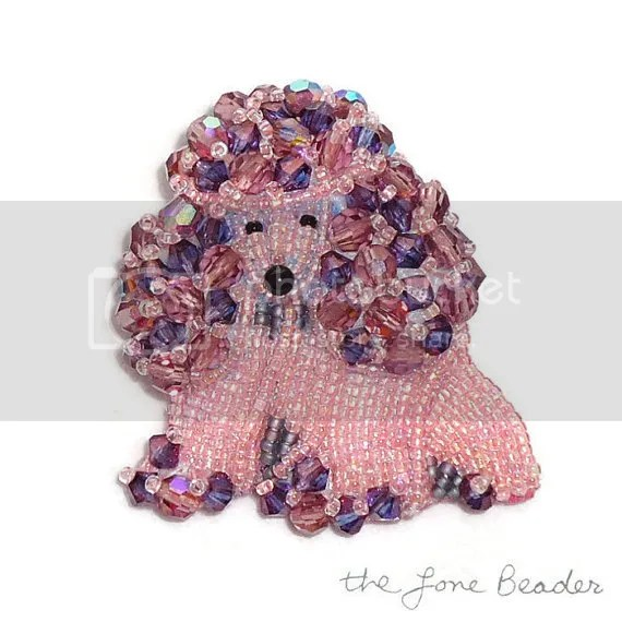 Beaded Czech Crystal poodle pin Bead embroidery dog jewelry AKC etsy artist Boston