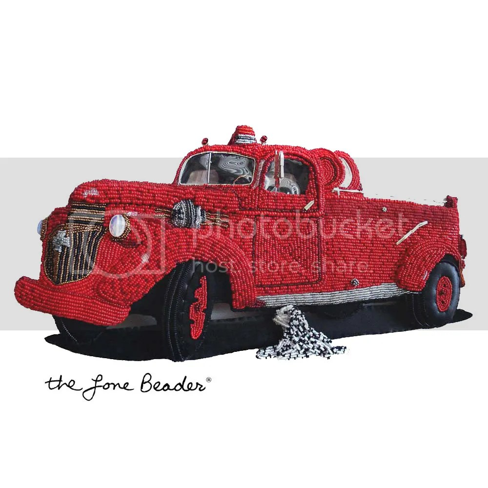 beaded beadwork 1943 Chevy fire truck for sale Dalmatian bead embroidery fiber art replica etsy thelonebeader red