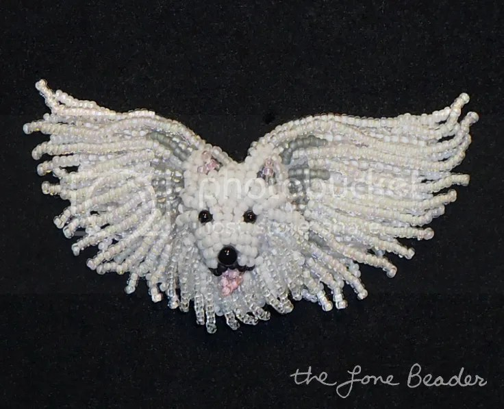 beaded Native American Eskimo Angel Eskie dog spirit pin etsy beadwork bead embroidery