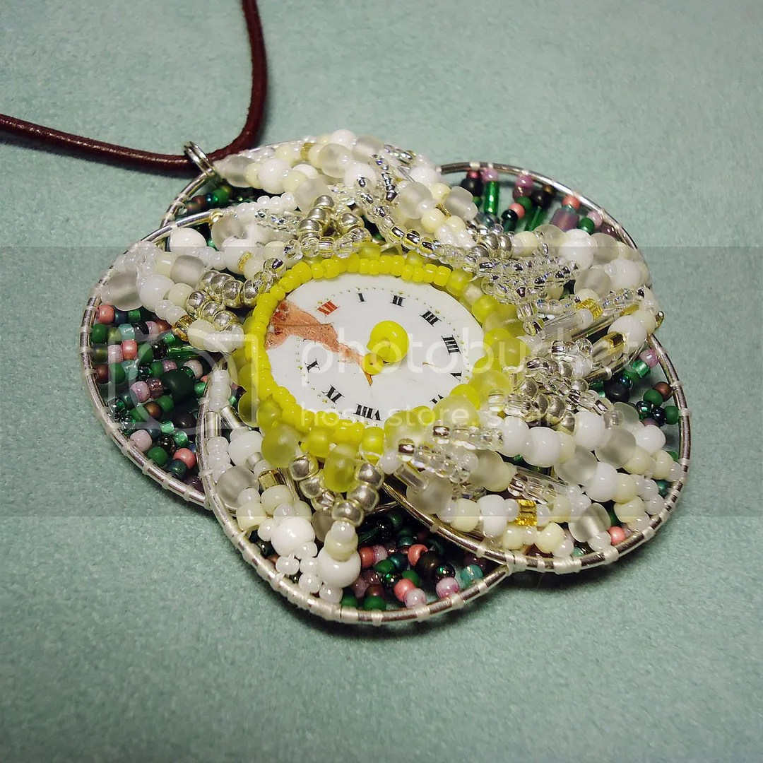 freeform peyote wire flower antique watch face necklace What's Old is New Again