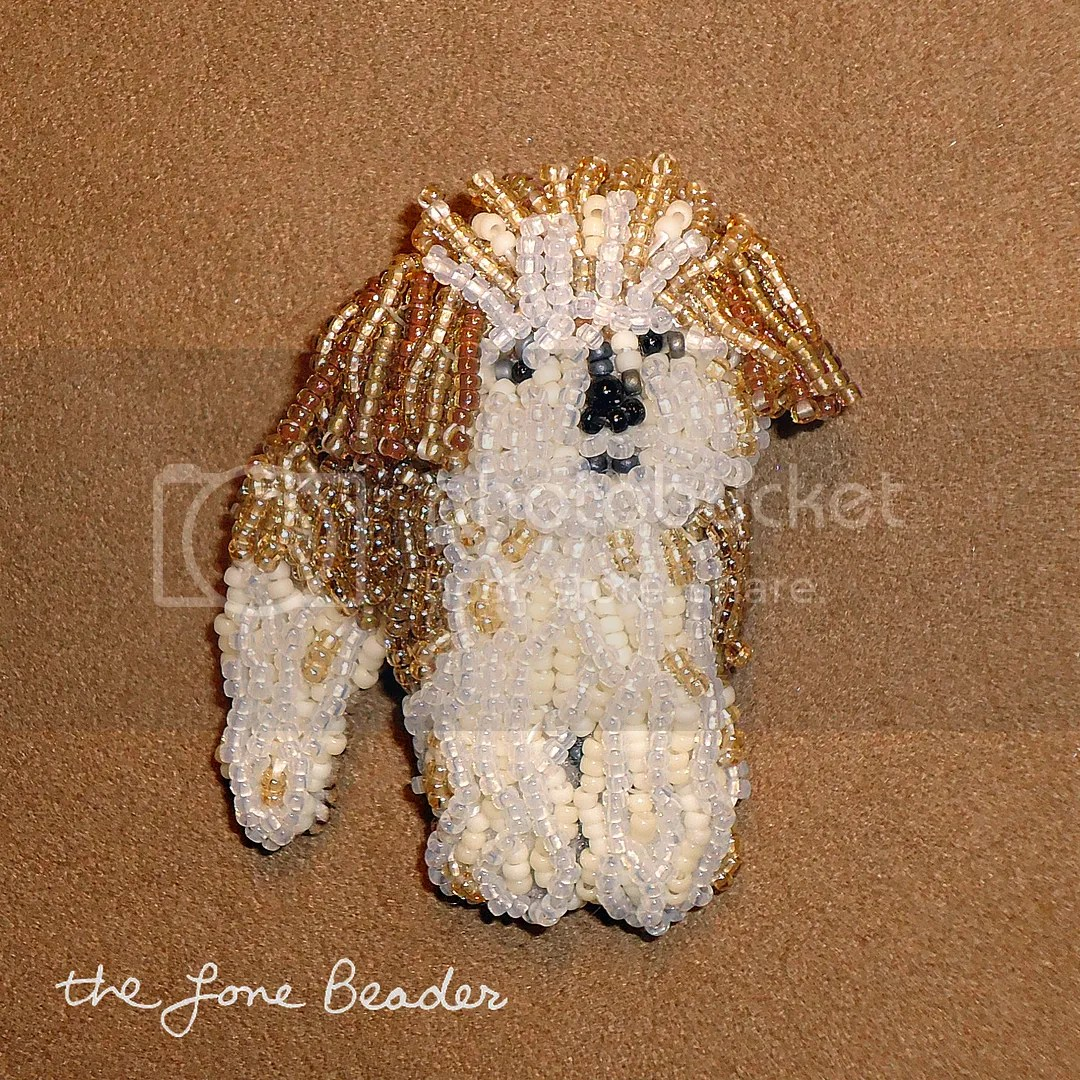 beaded Fluffy dog pin pendant custom bead embroidery pin pendant beadwork etsy