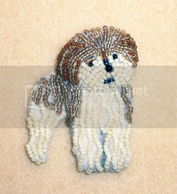 Fluffy dog half poodle beaded pet pin pendant Etsy custom bead embroidery art beadwork