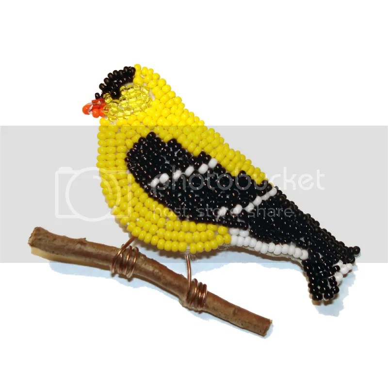 beaded American Goldfinch pin wearable art audubon society beading bead embroidery blog