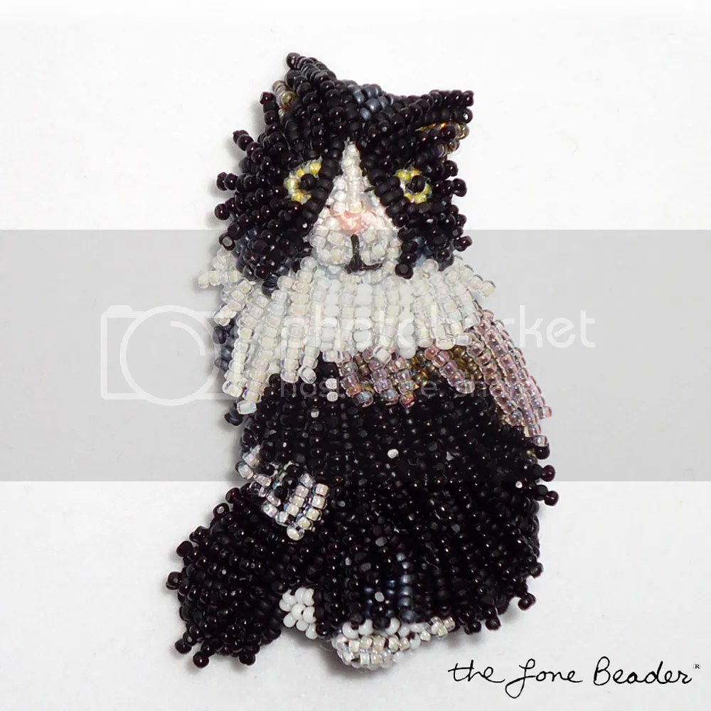 beaded longhaired sylvester bicolor tuxedo cat bead embroidery etsy brooch pendant