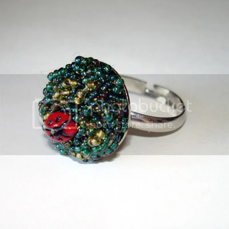 tiny beaded ladybug garden adjustable ring beadwork bead embroidery artist insect