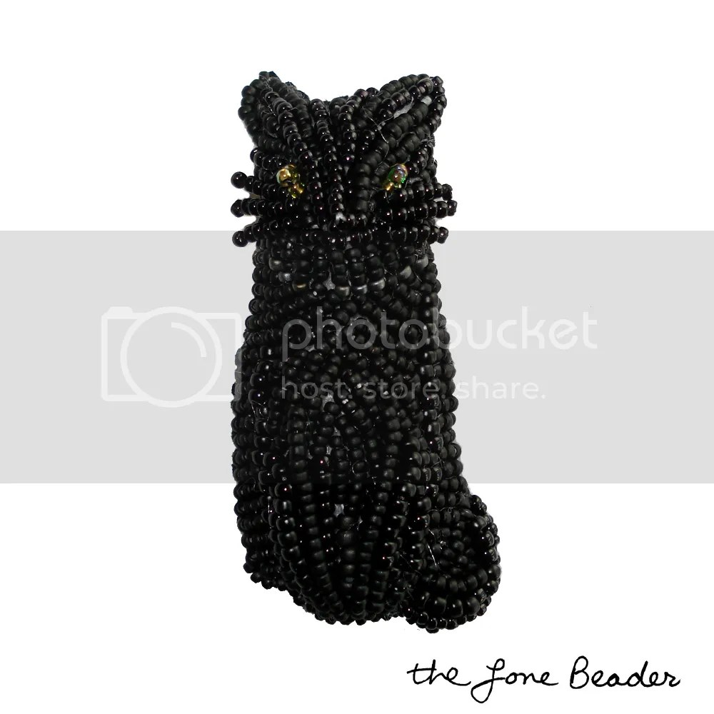 onyx beaded black cat pin/pendant Halloween wearable art beadwork etsy thelonebeader witch