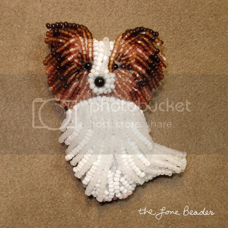 beaded papillon happy pappy dog pin beadwork pin pendant etsy aka bead embroidery