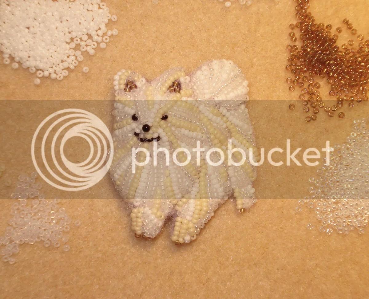 beaded Pommeranian pin pendant bead embroidery dog etsy pets beadwork seed beads