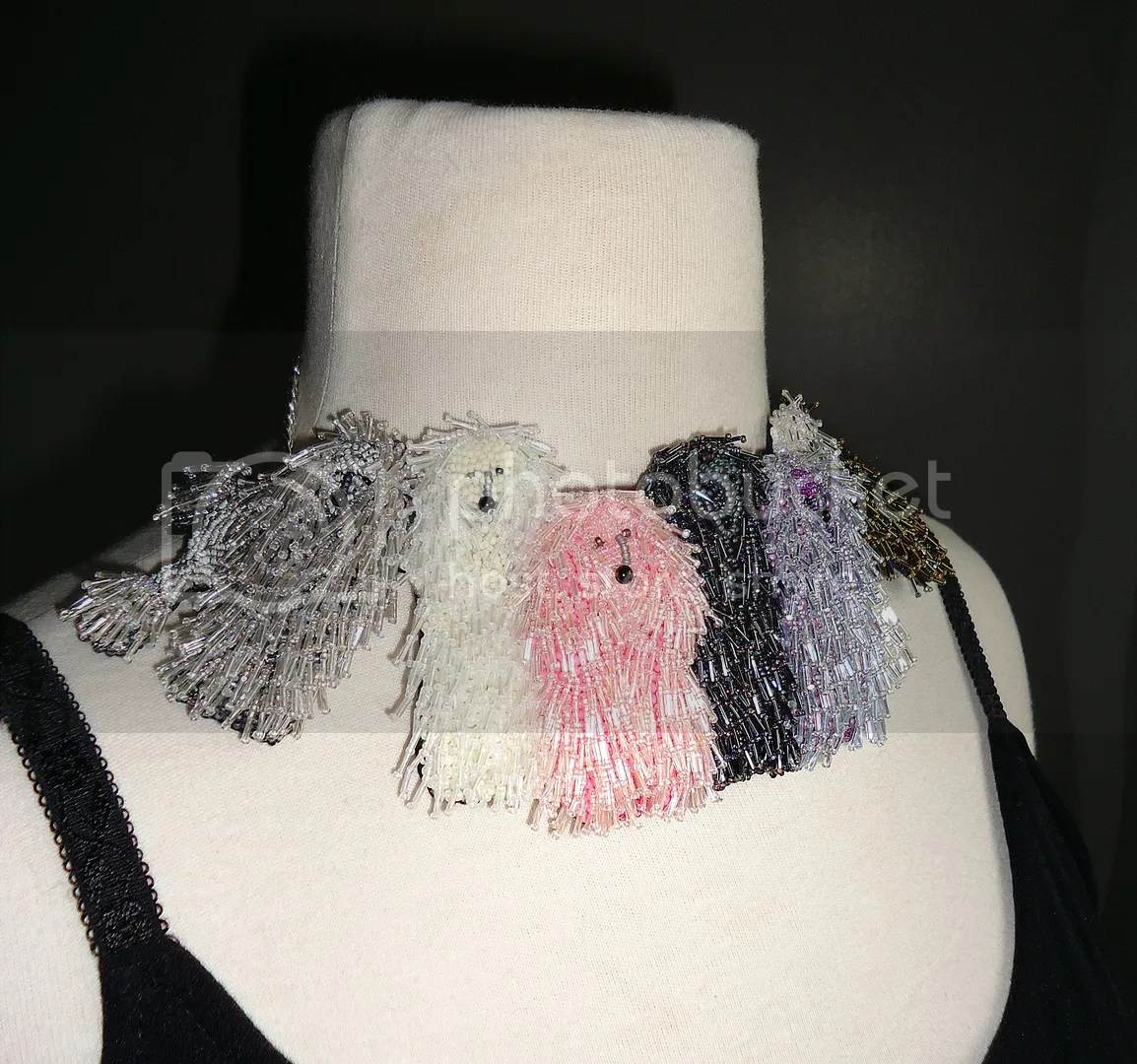 micro beaded corded poodles dog collar necklace beadwork bead embroidery etsy jewelry