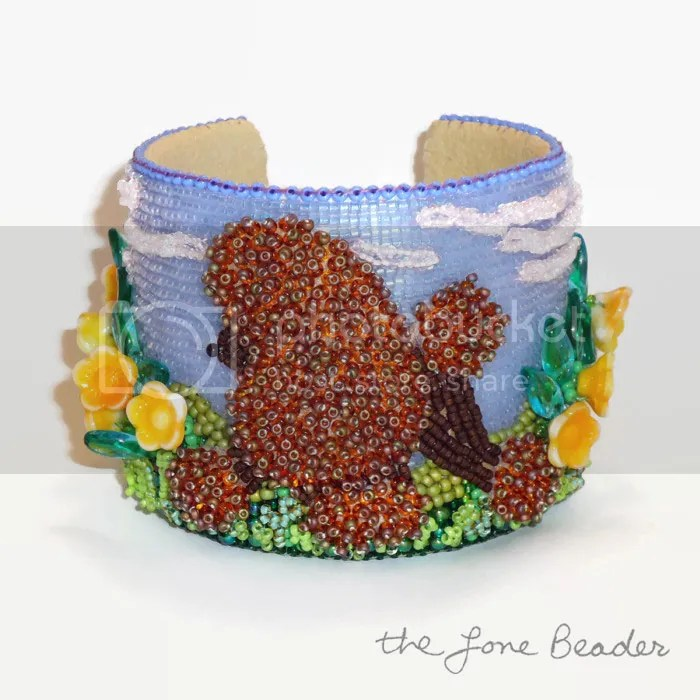 brown beaded Poodle in boston public garden cuff bracelet bangle bead embroidery etsy