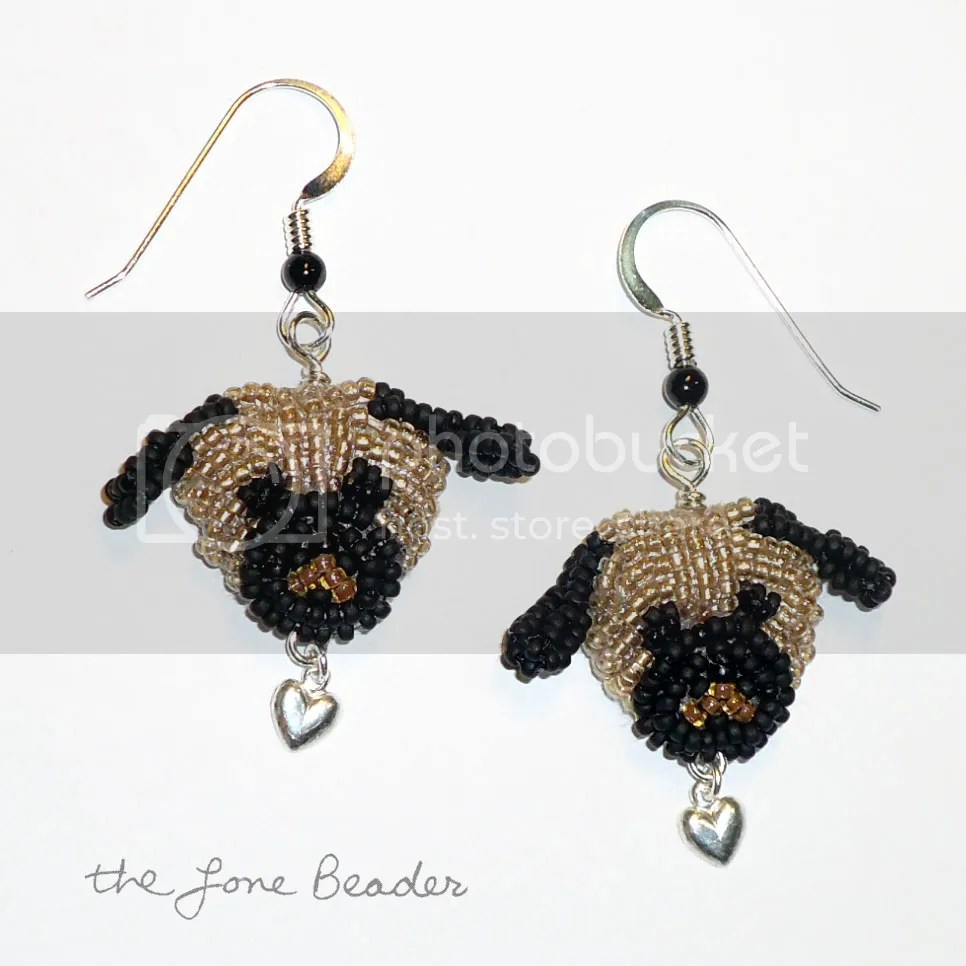 beaded Pug Love sterling silver dangly earrings Etsy bead embroidery