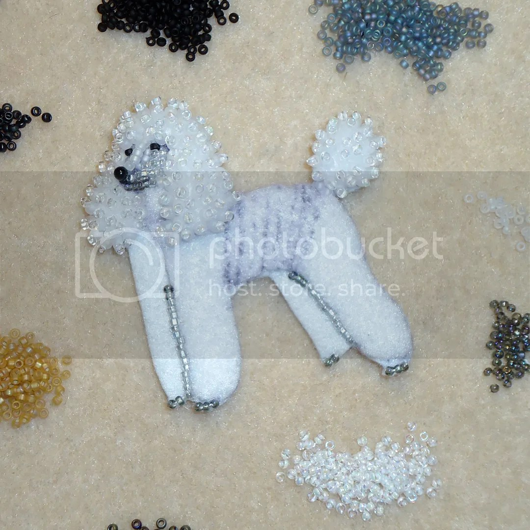 Beaded White rainbow Poodle pin pendant bead embroidery etsy artist LGBTQ jewelry
