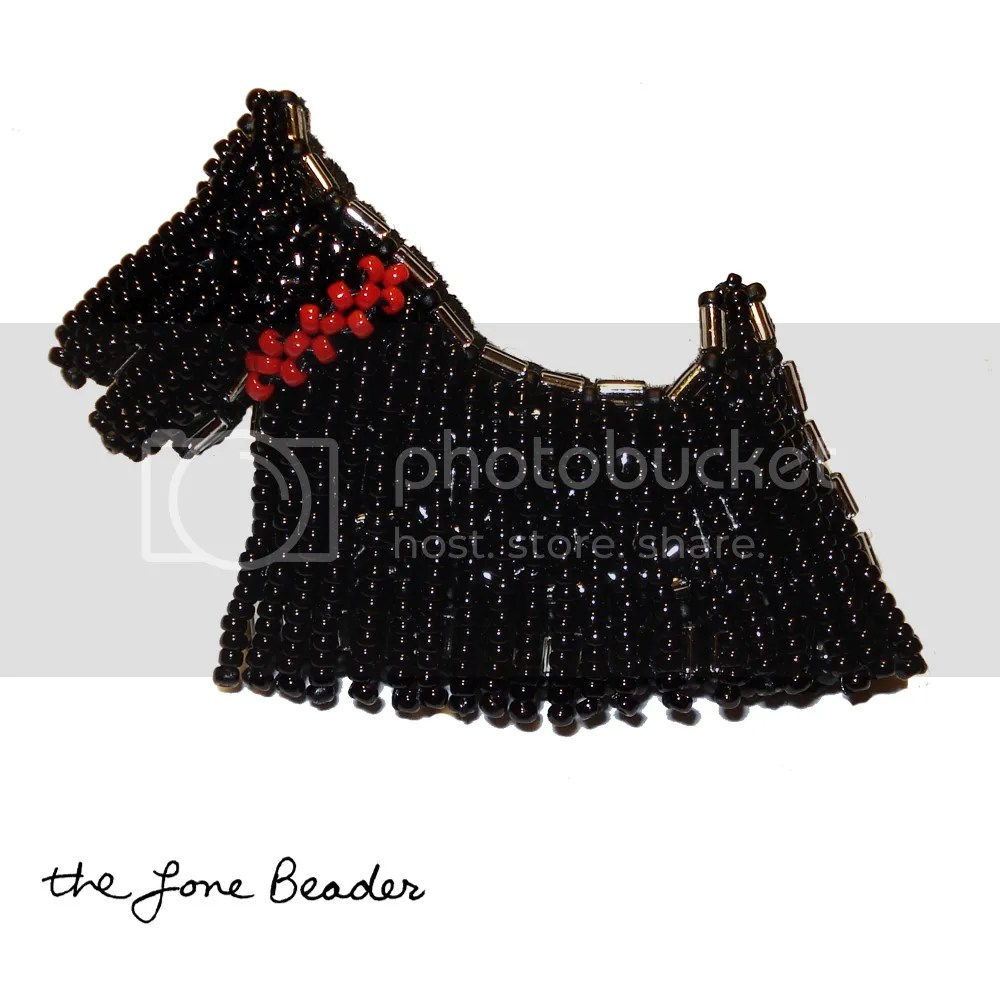 beaded Scottie Dog bead embroidery Scottish Terrier pin pendant etsy beadwork holiday gift