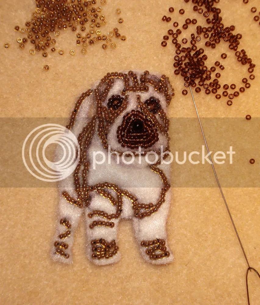 beaded shar pei dog pin pendant etsy bead embroidery beadwork