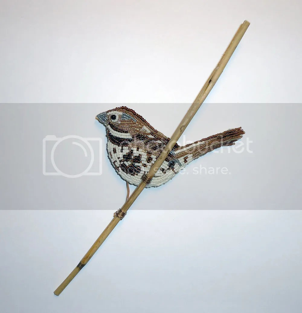 beaded song sparrow beach bird beadwork bead embroidery nature Audubon society